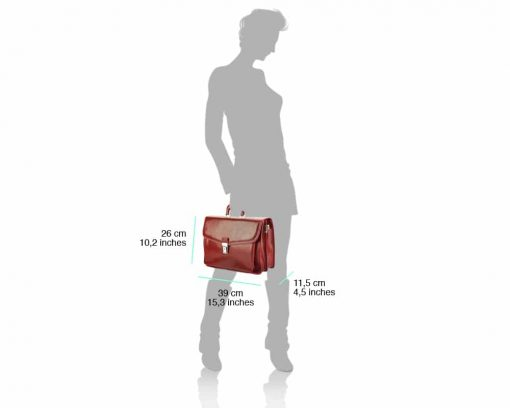 red business bag for man in natural leather