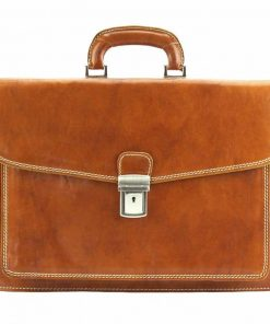 tan business bag in rigid leather Tamara for men
