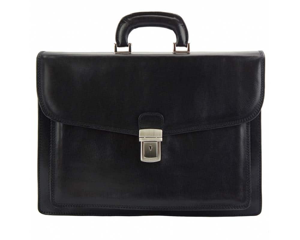 black business bag in rigid leather Tamara for men
