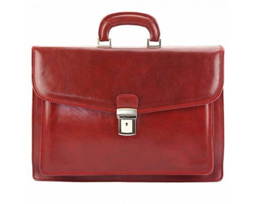 red business bag in rigid leather Tamara for man