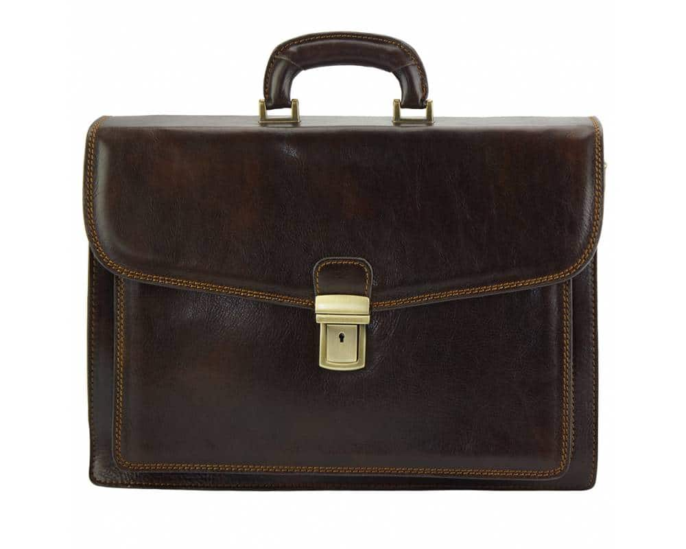 dark brown business bag in rigid leather Tamara for men
