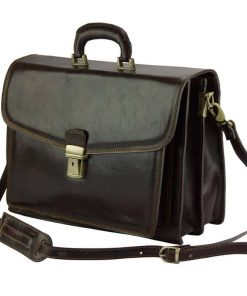 dark brown business bag in genuine leather Tamara for woman
