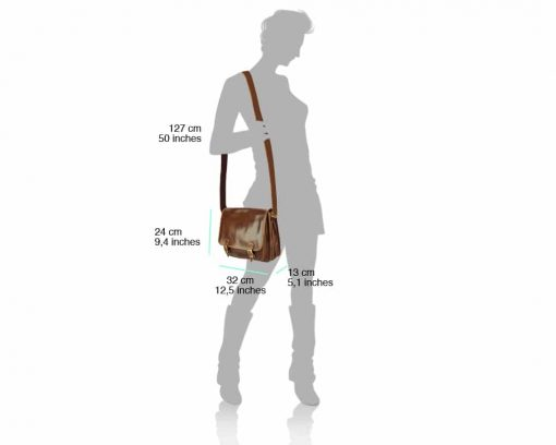 brown shoulder bag of genuine leather for woman