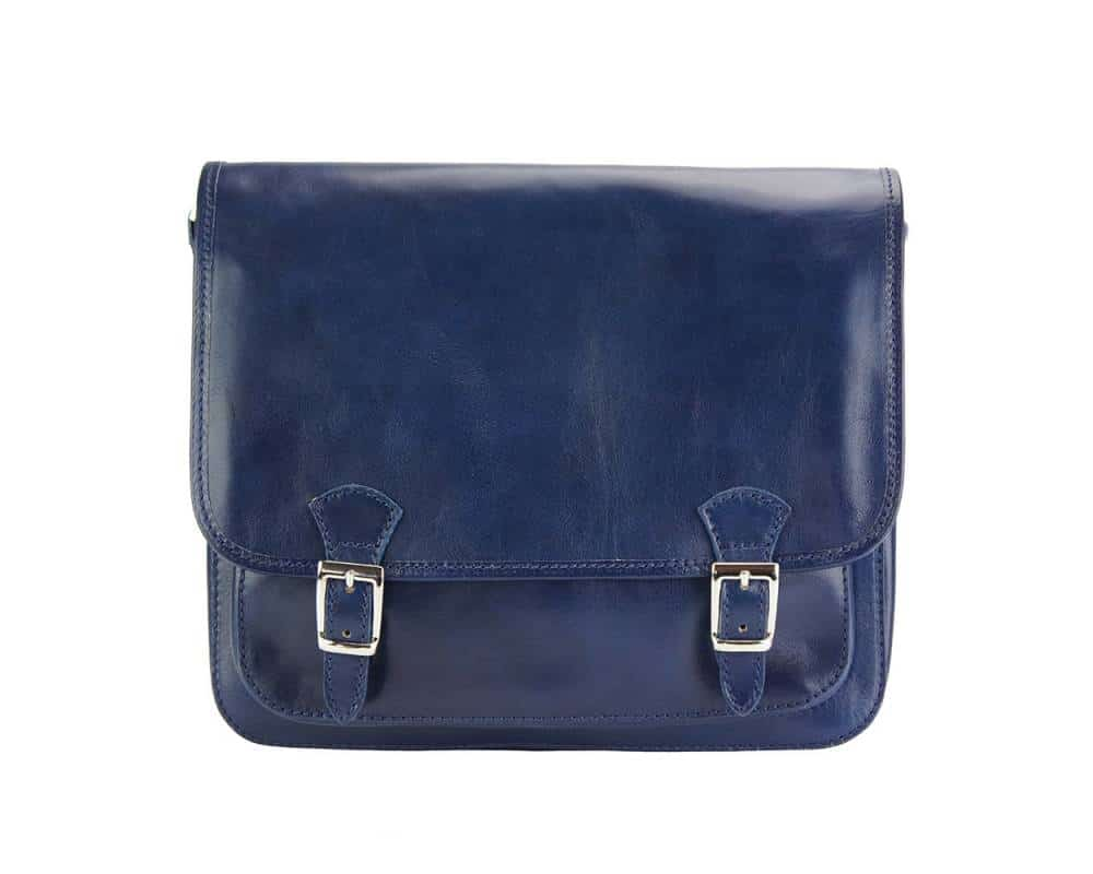 dark blue messenger in real rigid leather Tatiana for woman
