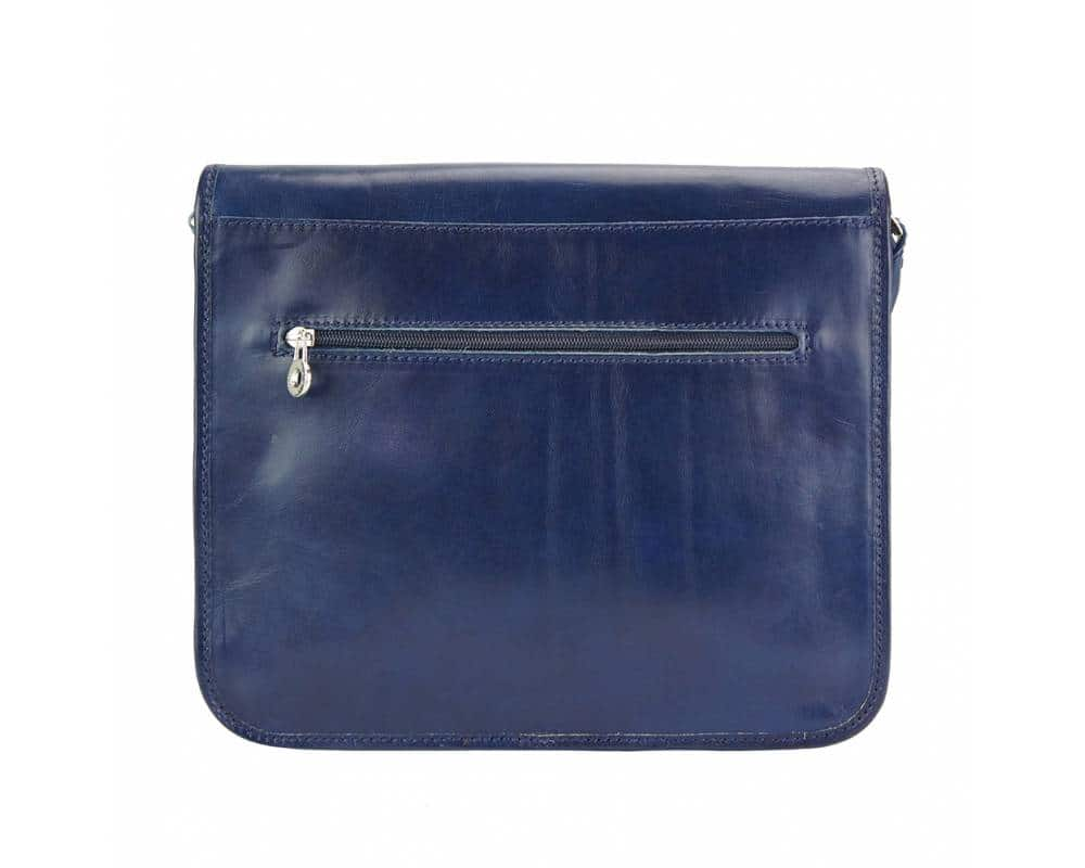 dark blue messenger in real leather Tatiana unisex