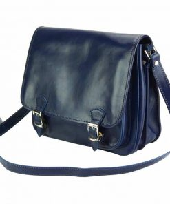 dark blue messenger in natural leather Tatiana