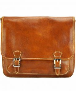 tan messenger in leather Tatiana unisex