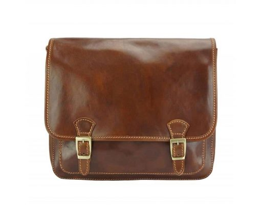 brown messenger in leather Tatiana unisex