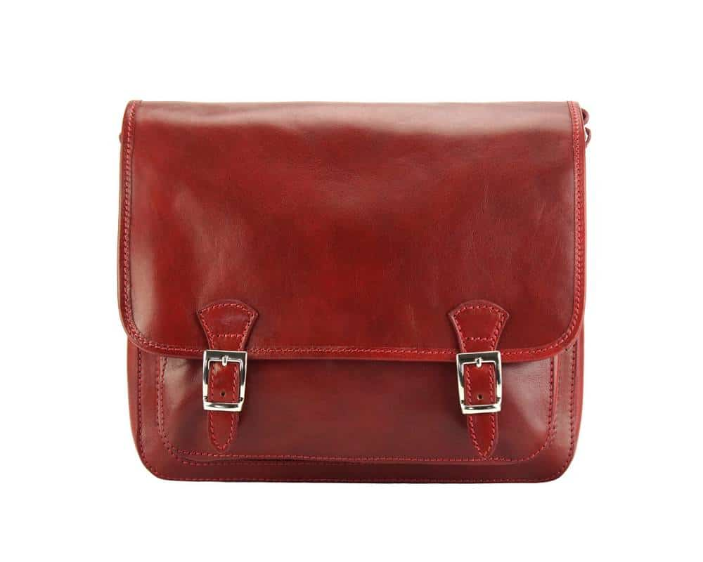 dark brown messenger in leather Tatiana for woman