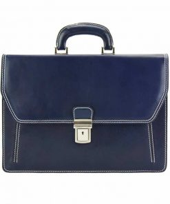 dark blue briefcase in rigid leather Ursula for man