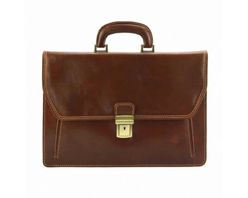 brown briefcase in rigid leather Ursula for man