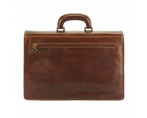 brown briefcase in real leather Ursula for men