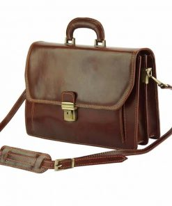 brown briefcase in genuine leather Ursula for man