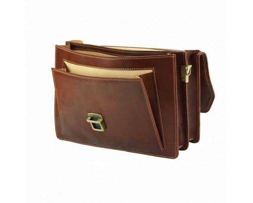 brown briefcase in leather Ursula for men