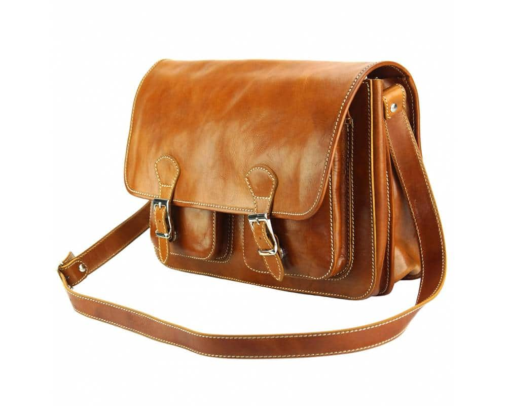 tan briefcase in genuine leather Tereza for woman