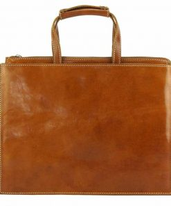 tan business bag in natural leather Tina for women
