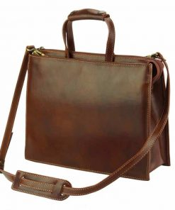 brown business bag in genuine leather Tina for woman