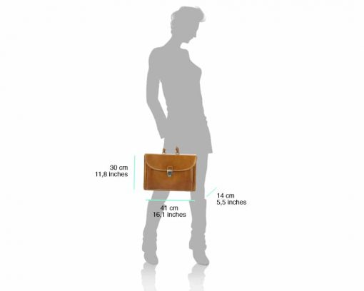 light brown business bag for man in genuine leather