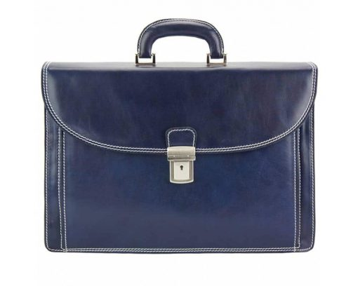 dark blue briefcase in natural leather Steliano for men