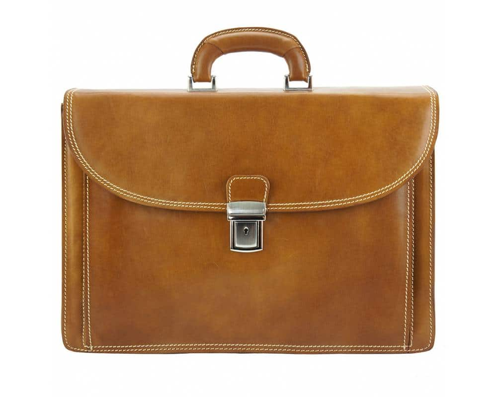 tan briefcase in natural leather Steliano for man