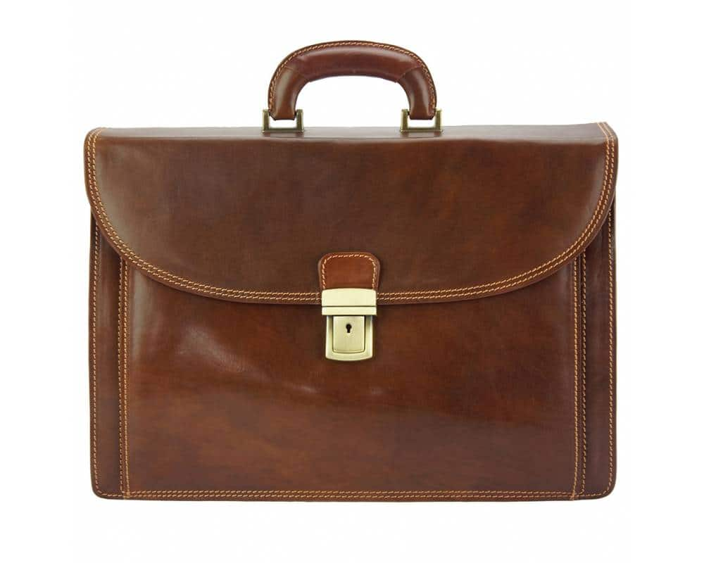 brown briefcase in natural leather Steliano for man