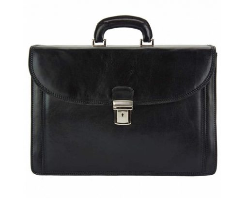 black briefcase in natural leather Steliano for man