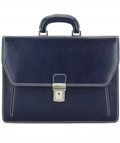dark blue briefcase in natural leather Vasilica for man