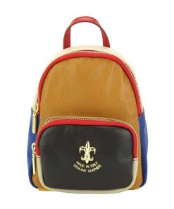 tan black light taupe red blue color backpack in genuine leather Virginia from italy for woman