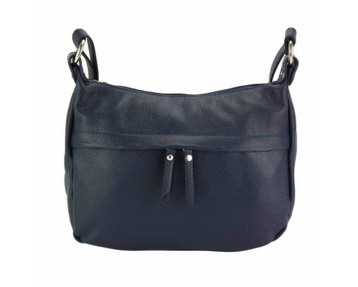 dark blue cross body bag in genuine leather Teodora for woman