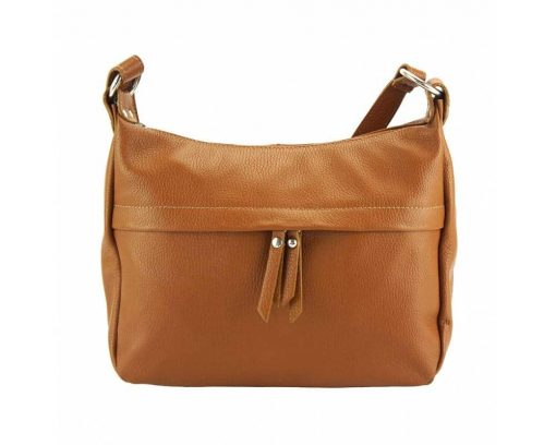 tan cross body bag in genuine leather Teodora for woman