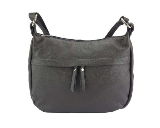grey cross body bag in genuine leather Teodora for woman