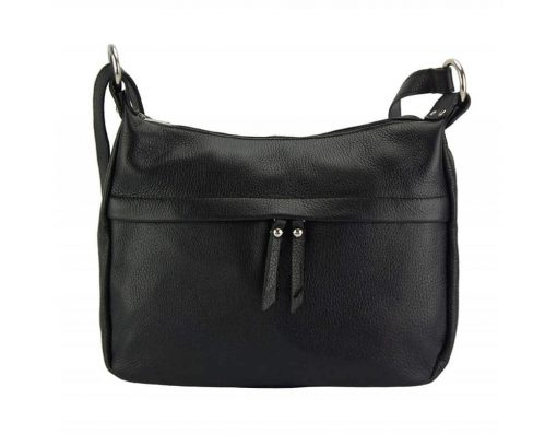 black cross body bag in genuine leather Teodora for woman
