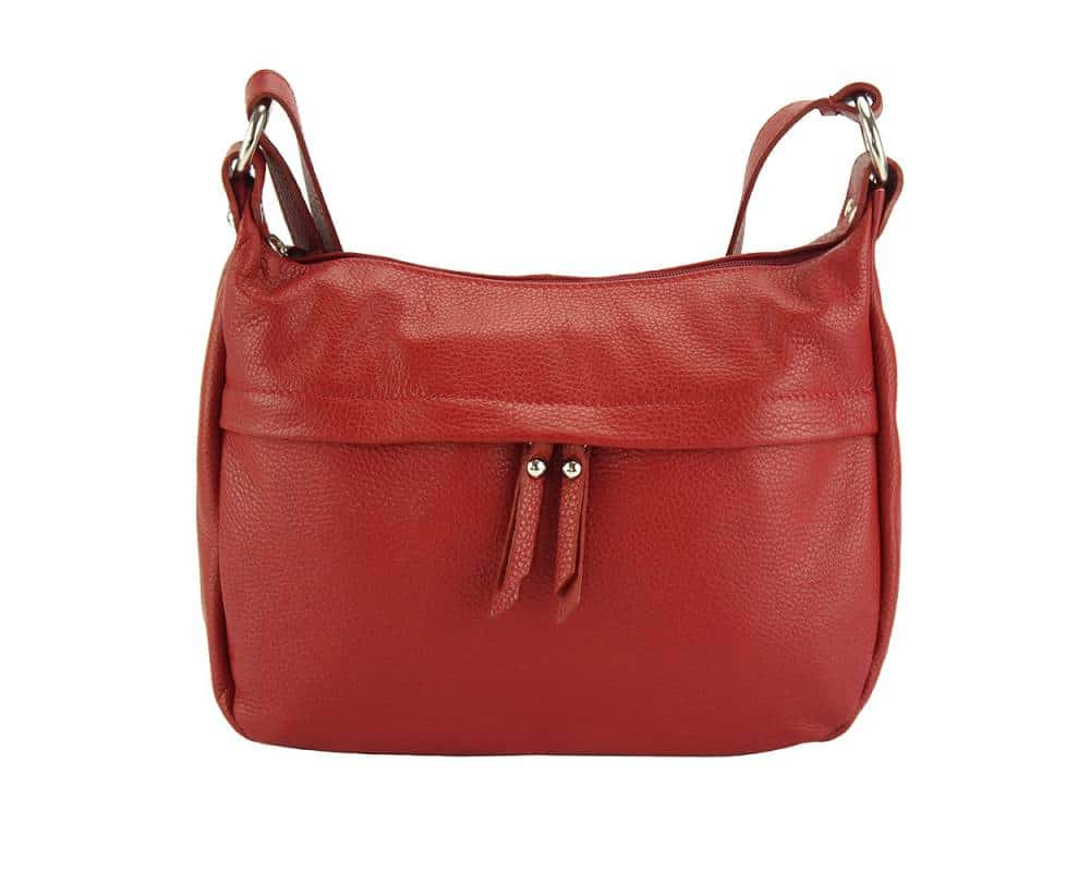 dark red cross body bag in genuine leather Teodora for woman