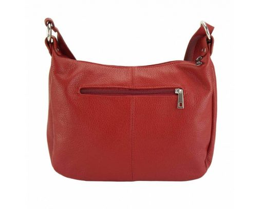 dark red cross body bag in leather Teodora for woman