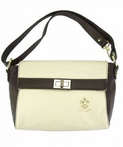 dark brown white cross body bag in genuine leather Valentina for woman