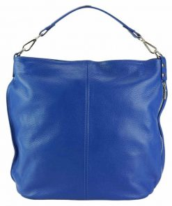 blue shoulder bag in natural leather Yasmin for women