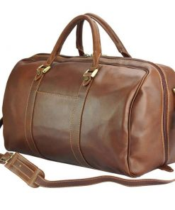 dark brown travel bag Raluca in genuine leather for man
