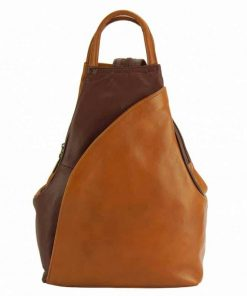 tan dark brown color backpack in real genuine leather Jana for woman