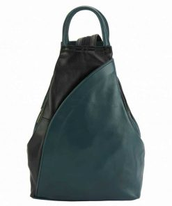 dark turquoise black color backpack in real genuine soft leather Jana for woman
