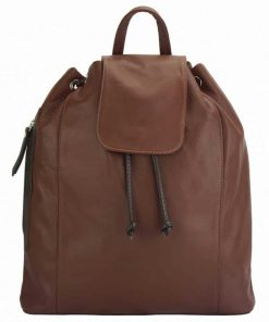 brown dark brown color backpack in natural soft leather Henrieta for woman
