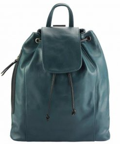 turquoise color backpack in natural soft leather Henrieta from italy