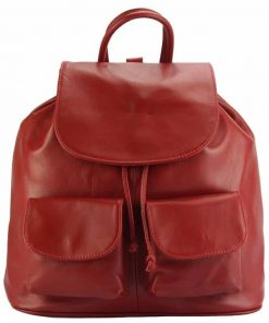 red backpack in genuine leather from italy for woma