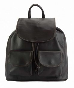 dark brown backpack constanta for man in genuine leather
