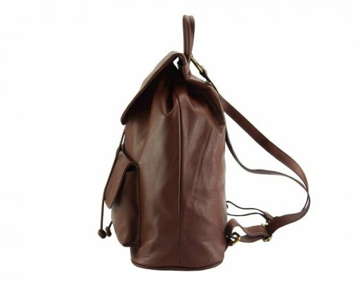 brown backpack constanta for woman in genuine leather