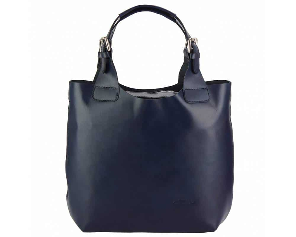 dark blue shoulder bag crina in real leather for woman