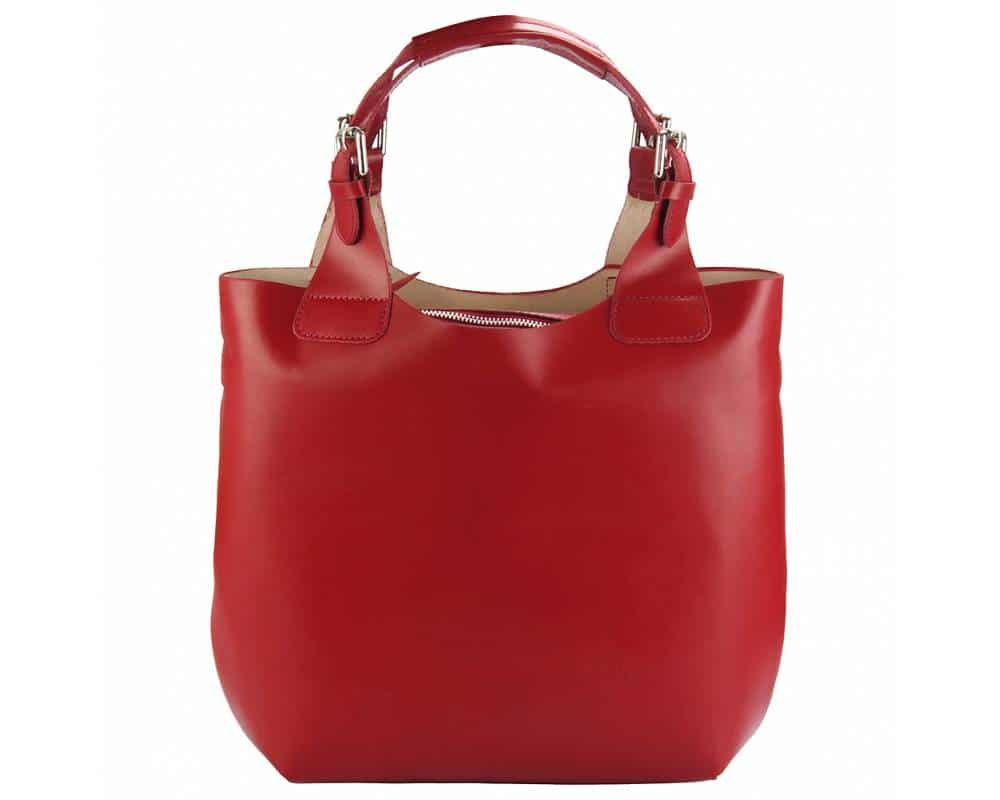 red shoulder bag crina in natural leather for woman