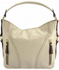 beige shoulder bag in real leather Gabriela for woman