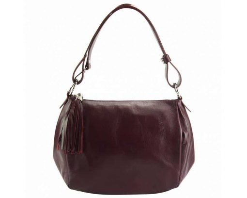 bordeaux shoulder bag in genuine leather camelia for woman