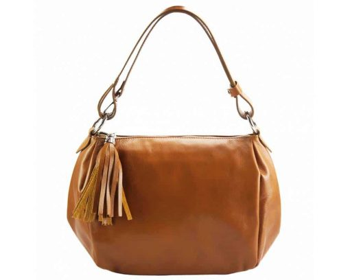 tan shoulder bag in genuine leather camelia for woman