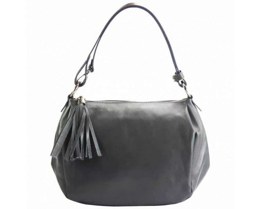 black shoulder bag in real leather camelia for woman